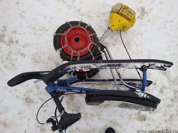 Как сделать снегоход из триммера своими руками