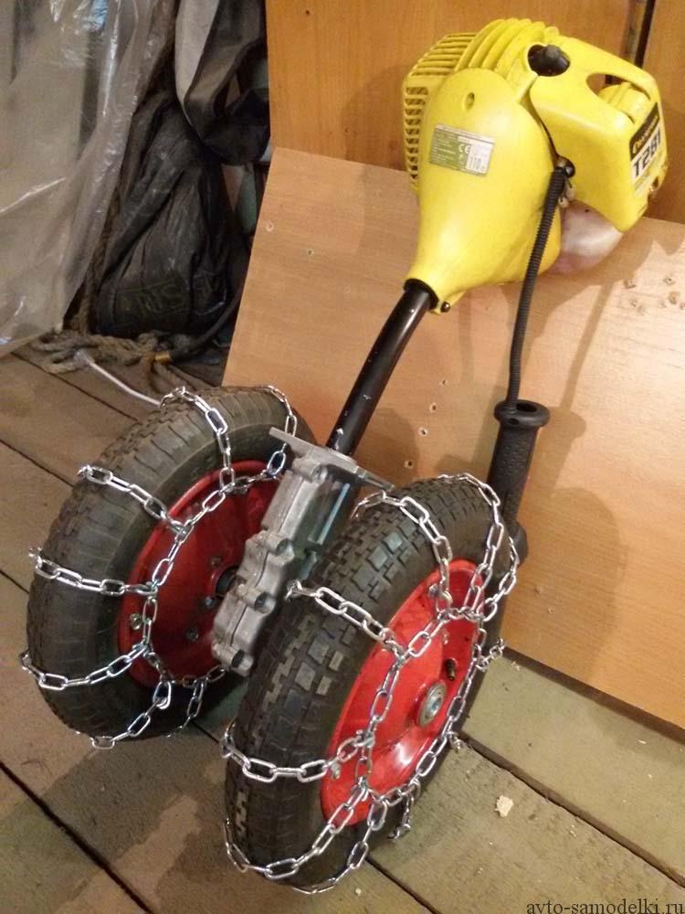 делаем снегокат с мотором от триммера